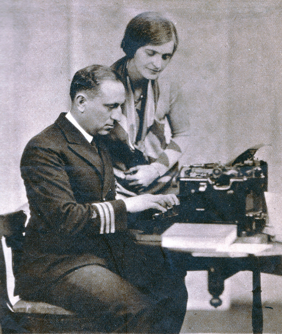 Commander Edward Ellsberg, leader in the salvaging of the submarine S-51, who has written a book about the feat. He is shown with his wife. Source: photo and caption from 1929 magazine.
